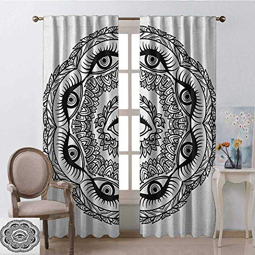 youpinnong Occult, Curtains Room Darkening, Print in Abstract Floral Crown of Leaves Sticks with Eye of Providence Boho Symbol, Curtains Kitchen Window, W108 x L96 Inch, Black White