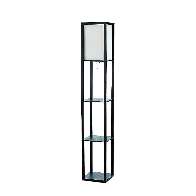 Black Floor Lamp With Shelves: Amazon.com: Simple Designs LF1014-BLK Floor Lamp Etagere Organizer Storage  Shelf with Linen Shade, Black: Home Improvement,Lighting