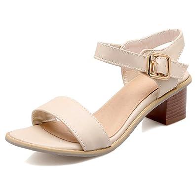 Xianshu Damen Blockabsatz Sandalen Peep Toe Fesselriemen Wildleder Hoher Absatz Schuhe Pumps