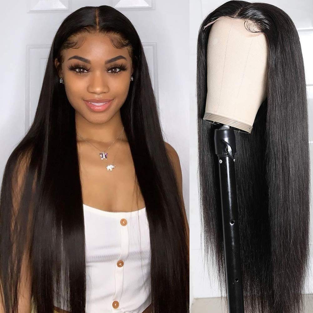 Straight Lace Front Wigs Human Hair Brazilian Virgin Hair Lace Closure Wigs For Black Women 150 Density Real Hair Lace Wigs Natural Color 16 Inch Straight Hair Wigs Beauty Amazon Com