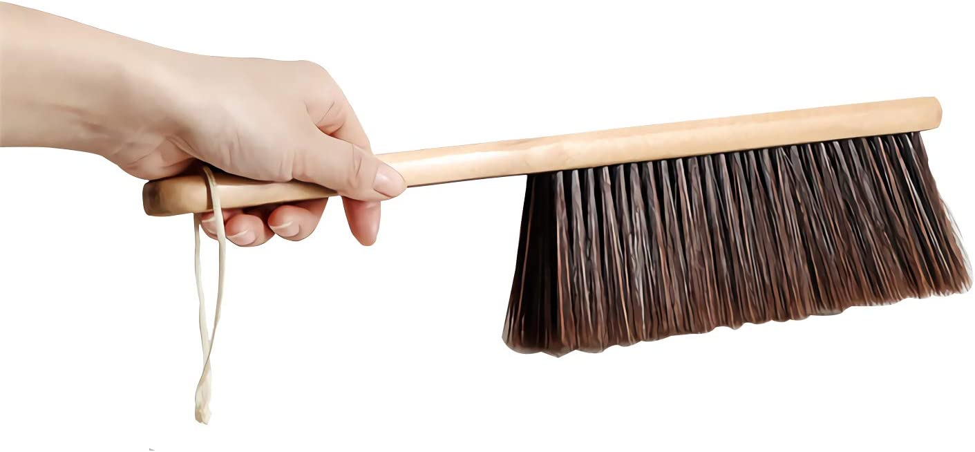 Counter Duster with Wood Handle, Wood Block Hand Brush Broom Dust Brush Bench Woodworking Brush-Brushes Used for Counter, Gardening, Furniture, Drafting, Patio, Fireplace Cleaning