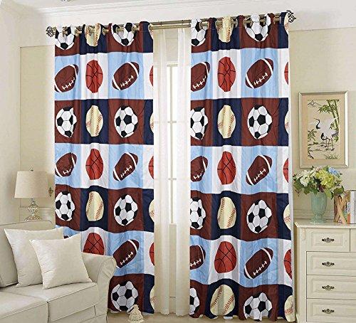 Golden Linens 2 Pieces Rod Pocket Window Curtains/drape/panels/treatment Set Printed Navy Blue, Sky Blue, Brown, Orange Kids Sports Basketball Football Baseball # 02- CURTAIN
