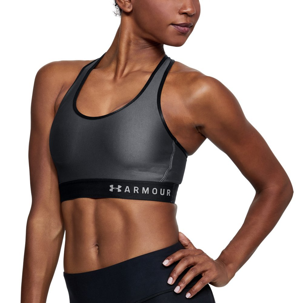 Under Armour womens Armour Mid Keyhole Sports Bra, Rhino Gray (076)/Aluminum, X-Small by Under Armour