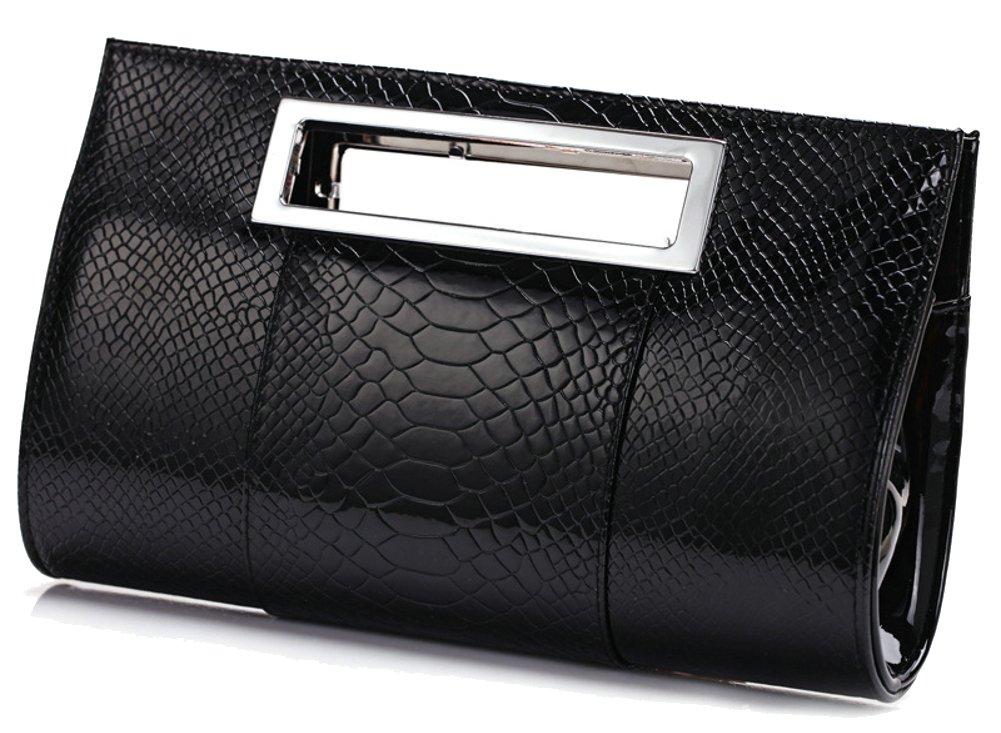 Ilishop Women's Classic Crocodile Pattern Faux Leather Metal Grip Clutch (Black)