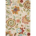 Jaipur RUG122609 Transitional Floral Pattern Polyester Area Rug, 2' by 3', Taupe/Tan