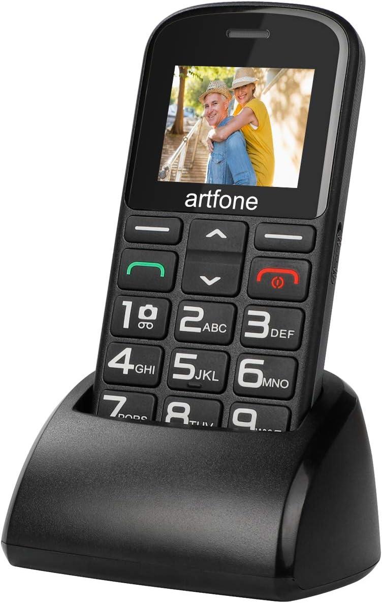 artfone Teléfonos Móviles para Mayores con Teclas Grandes Móviles para Ancianos con Botón SOS Batería de 1400mAh, Cámara y Base de Carga