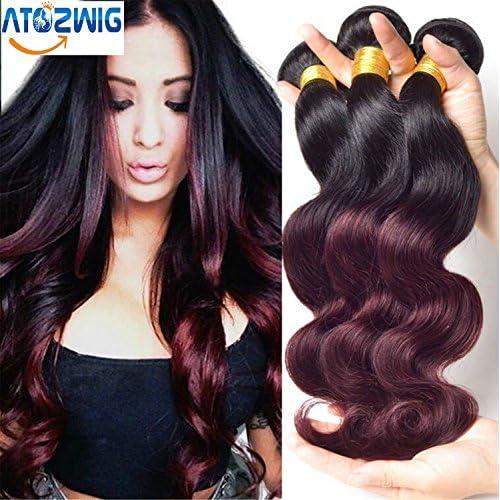 ATOZWIG@Brazilian Virgin Hair Body Wave 3 Pcs Burgundy Brazilian Hair Two Tone Ombre Brazilian Hair Brazilian Body Wave Ombre Human Hair 1b/99j