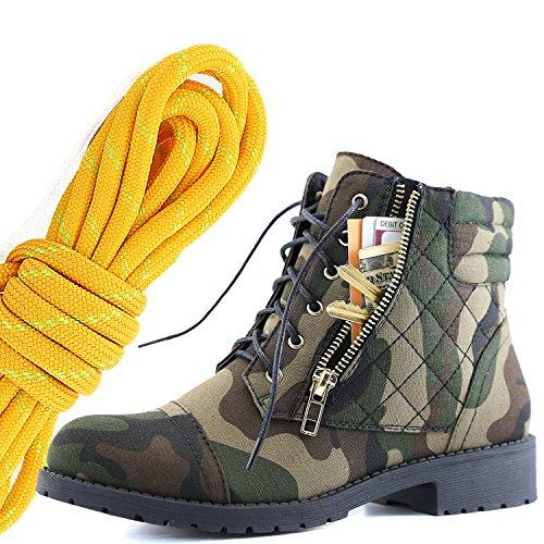 Dailyshoes Femmes Lace Militaire Boucle Boucle Bottes De Combat Cheville Haute Carte De Crédit Exclusive Poche, Mandarine Lime Camouflage Cv