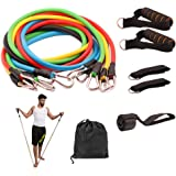 BMBZON Resistance Band Set 11 Pieces with Stackable Exercise Bands,Legs Ankle Straps,Door Anchor, Handles and Waterproof Carrying Bag,Multifunction Fitness Equipment for Legs and Arms Home Workouts