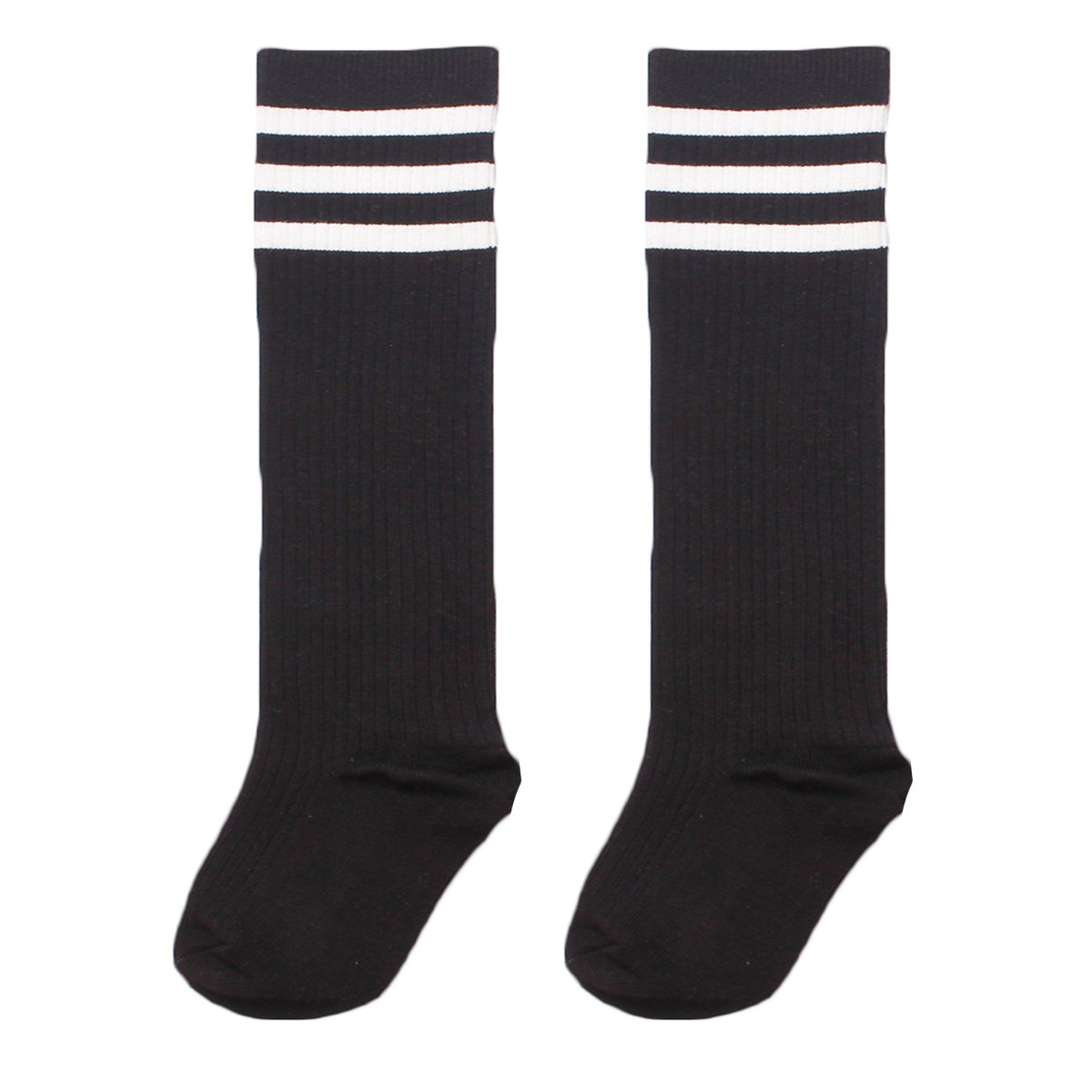 Zando Girl's Cable Knee High Socks Uniform Knit Tube Cotton Socks Kids Striped Comfort Stockings Athletic School Sock MNFUDS1992S0000