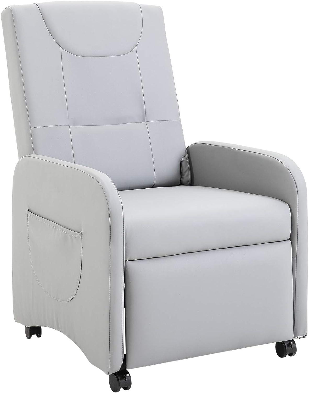Sillón de Relax Plegable Reclinable hasta 120°con Reposapiés Extensible con Ruedas 2 Bolsas para Hogar y Oficina Cuero de PU