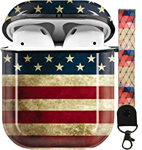 American Flag Airpods Case Cover,Flexible Airpods Accessories Compatible with Apple Airpods 1st/2nd,Shockproof Protective TPU Case Cover for Girls Boys Women Men with Keychain/Strap