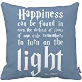 Kenneth Case Cool Happiness Harry Potter Quote Unique Luxury Print Square Pillow case 18X18 Inch(One Side)