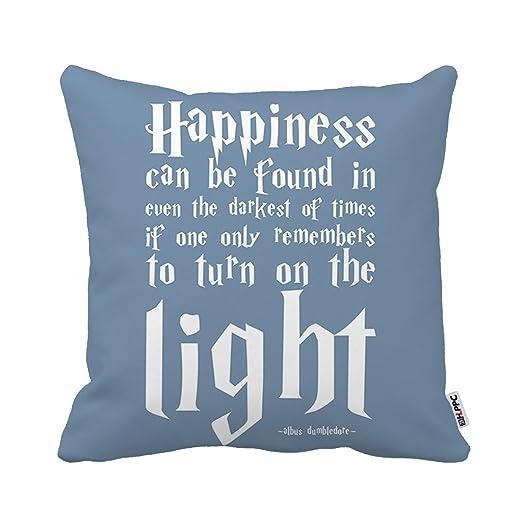 Kenneth Case Cool diseño de frases de felicidad Harry Potter cuadrado de impresión de lujo funda de almohada 18 x 45,72 cm (un lado)