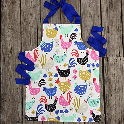 Handmade Colorful Chicken and Rooster Apron for Girls from Sara Sews
