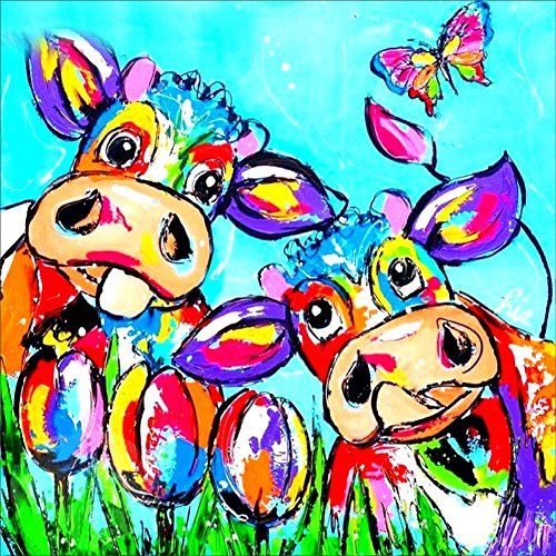 ing by Number Kits, Crystal Rhinestone Embroidery Pictures Arts Craft for Home Wall Decor Gift, Two Cattles 12x12inch ()