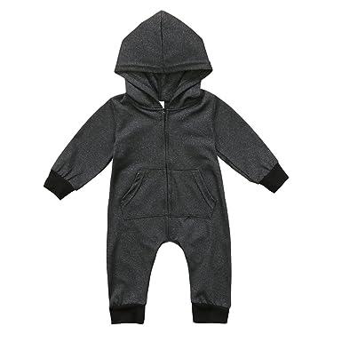 0630130ba584 Amazon.com  BiggerStore Infant Newborn Baby Boy Hooded Romper ...