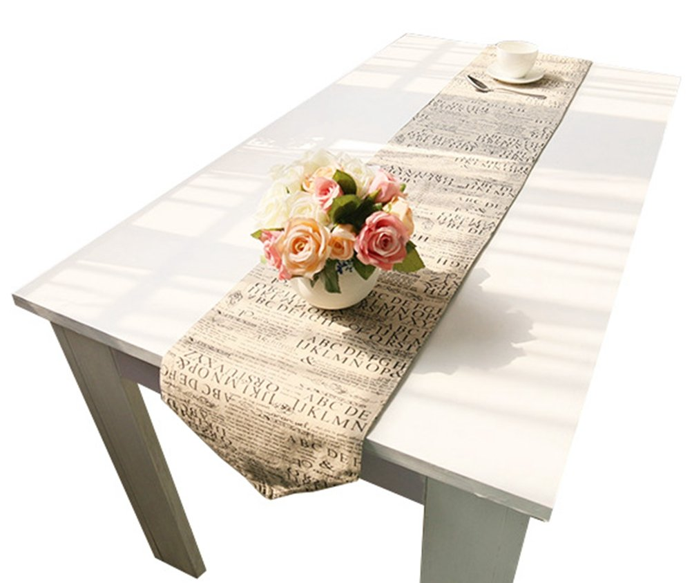 LivebyCare European Themes Double-Sided Printing Table Runner Cotton Linen Not Jute Fabric Table Decoration Runers for Home 12x86 inches