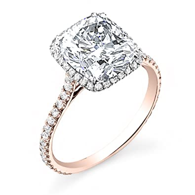 140 ct gia certified natural halo cushion cut diamond engagement ring 18k gold rose - Real Diamond Wedding Rings