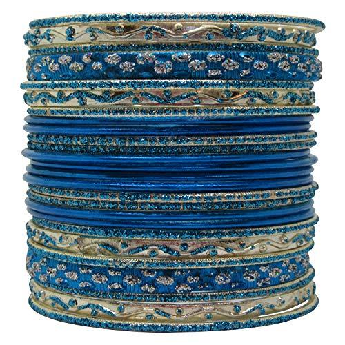 LaRaso & Co Set of Dark Bright Blue Bangle Bracelets for Women ()