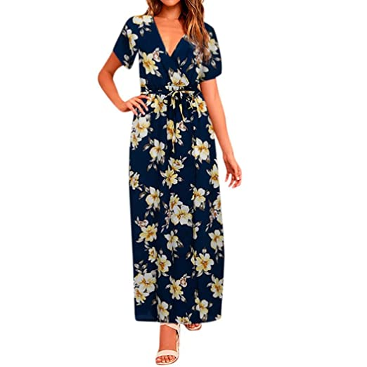 3510332c64967 Minisoya Women Holiday Casual Backless Vintage Floral Evening Party ...