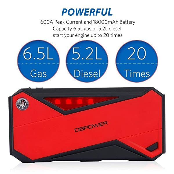 This DBPOWER jump starter offers up to 30 jump starts on a single charge.