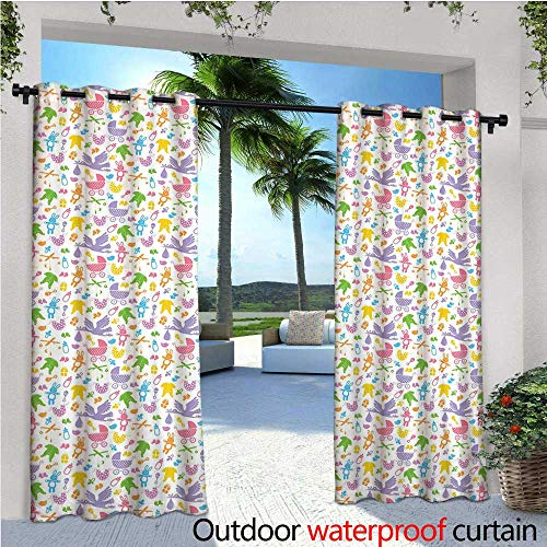 Baby Outdoor Privacy Curtain for Pergola Stork with Newborn Bunny Toys Milk Bottles Infant Item Silhouettes Stroller Cartoon Thermal Insulated Water Repellent Drape for Balcony W72