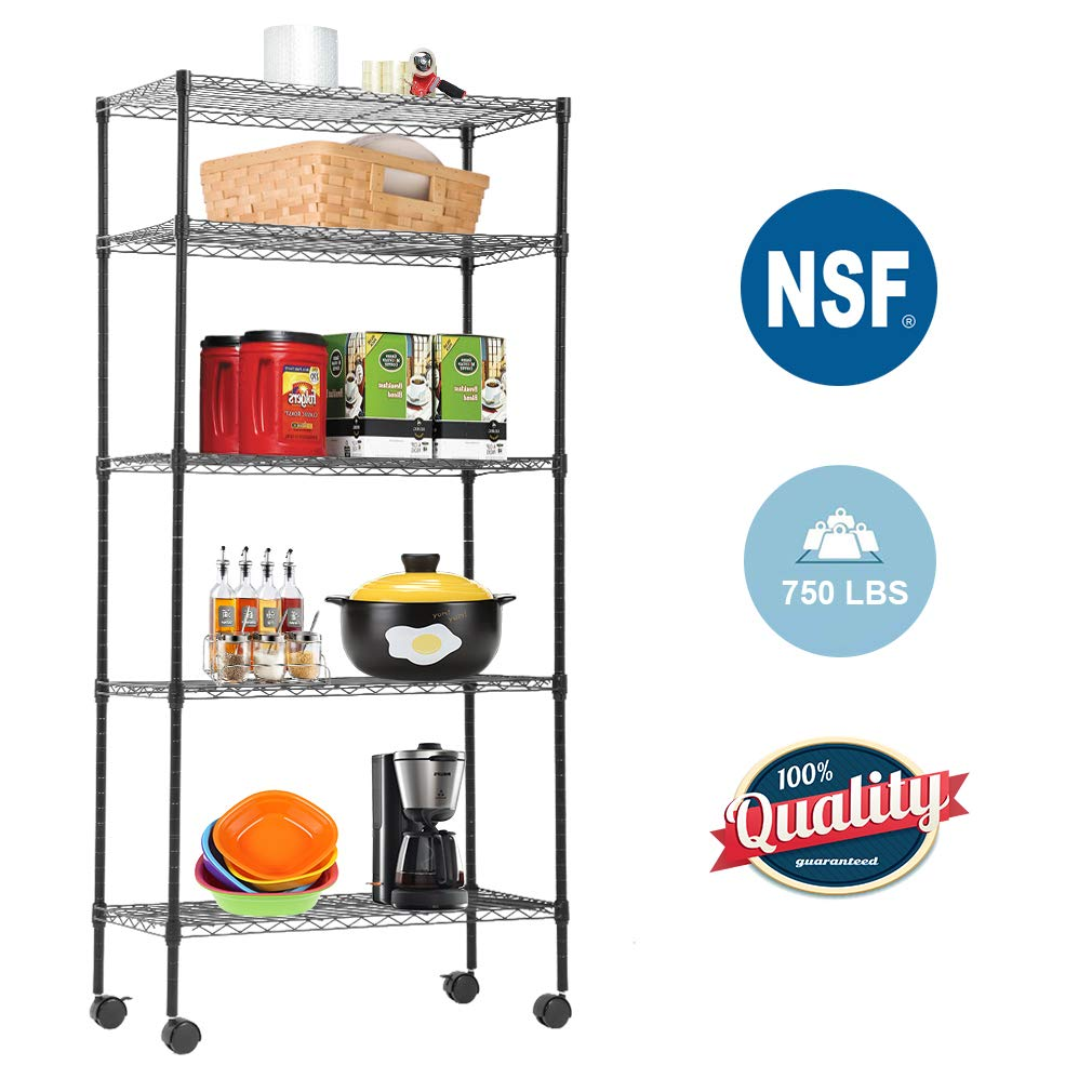 5-Tier Wire Shelving Unit Steel Large Metal Shelf Organizer Garage Storage Shelves Heavy Duty NSF Height Adjustable Commercial Grade Utility Storage Metal Rack on Wheels 14''D x 30''W x 60''H,Black
