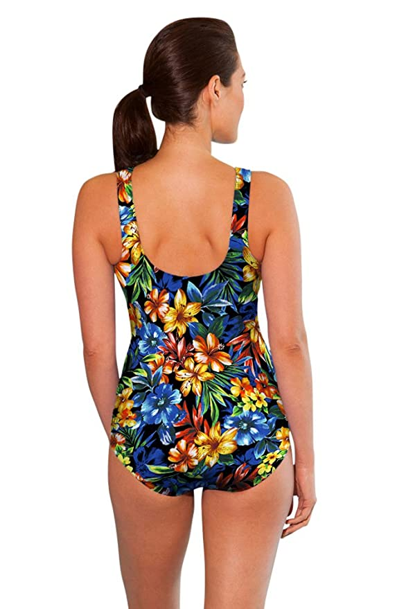 0e3c0fdb36 Amazon.com: Aquamore Chlorine Resistant Oasis High Neck One Piece Swimsuit:  Clothing