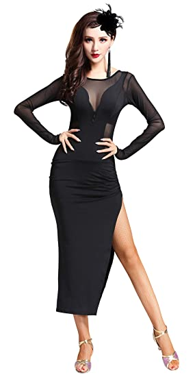 Womens Tango Cha Cha Ballroom Dance Dresses Full Length Dresses Prom New Haih