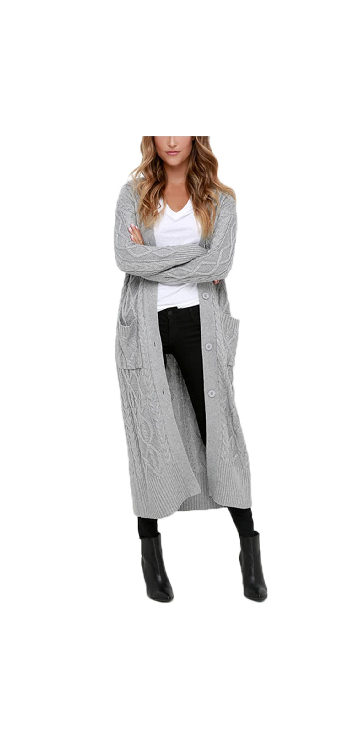 Womens Open Front Button Down Casual Knitted Long