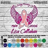 In Memory Awareness Ribbon with Wings Vinyl Die Cut Decal Sticker for Car Laptop etc.