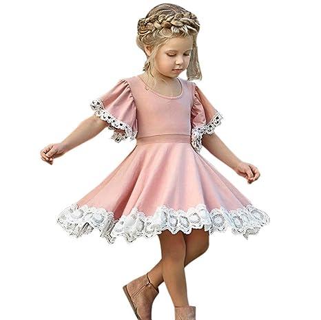 Oyedens Bambine Principessa Abiti Eleganti Bambina Partito Compleanno  Comunione Swing Vestiti Da Cerimonia Ragazze Vestito Bambini 6e555d35242