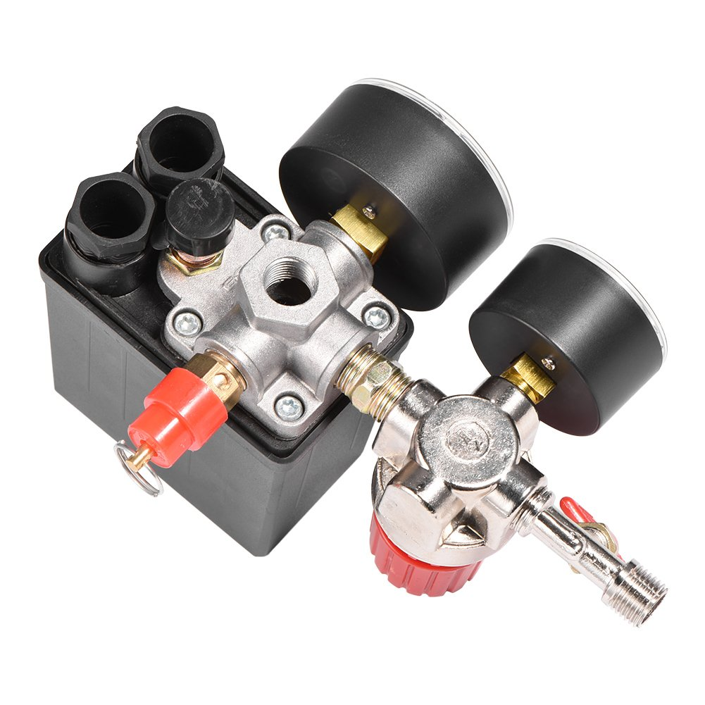 Small Plastic Air Compressor Pressure Switch Control Lightweight Valve Regulator Switch with Gauges
