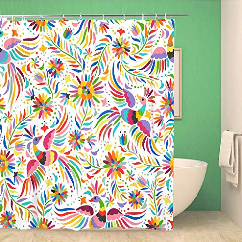 Awowee Bathroom Shower Curtain Pattern Mexican Colorful and Ornate Ethnic Birds Flowers Light Polyester Fabric 60x72 inches Waterproof Bath Curtain Set with Hooks