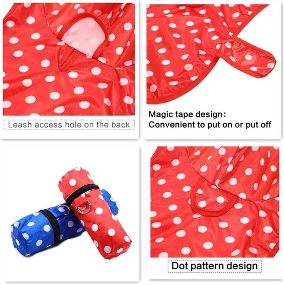 Aomednx Pet Regenmantel for Hund 3 Farben Dot Regenmantel mit Aufbewahrungstasche D-Ring passenden Tasche Druck wasserdicht Hund Regenmantel Cool