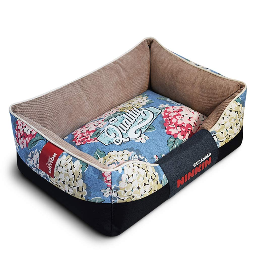 bluee LargeSoft Dog Bed, Printed Canvas Pet Sleepping Bed Sofa Kennel Nest Warmer Cushion with Removable and Washable Cover for Small Medium Dogs and Cats,Beige,L