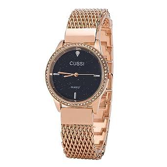 b0189e3ef4a Amazon.com  Ladies Galax Mesh Bracelet Dress Wrist Watch for Women - Female  Rose Gold  Watches