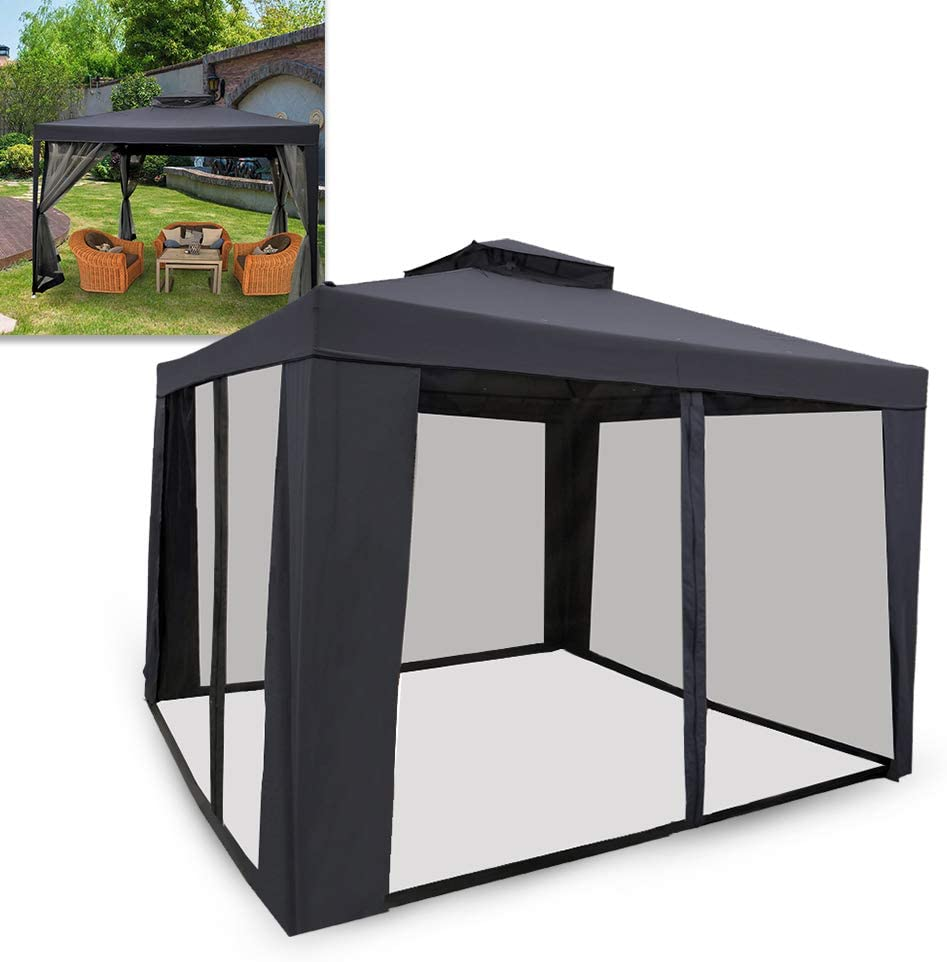 UISEBRT Carpa de 3 x 3 m resistente al agua – Carpa de jardín con 4 laterales para camping, jardín, fiesta, boda, picnic, Color gris oscuro.: Amazon.es: Jardín