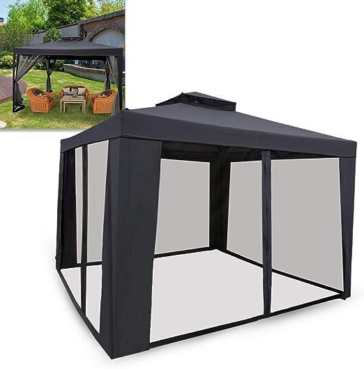 UISEBRT Carpa 3 x 3 m resistente al agua – Carpa de jardín con 4 laterales para camping, jardín, fiesta, boda, picnic, Color gris oscuro.: Amazon.es: Jardín