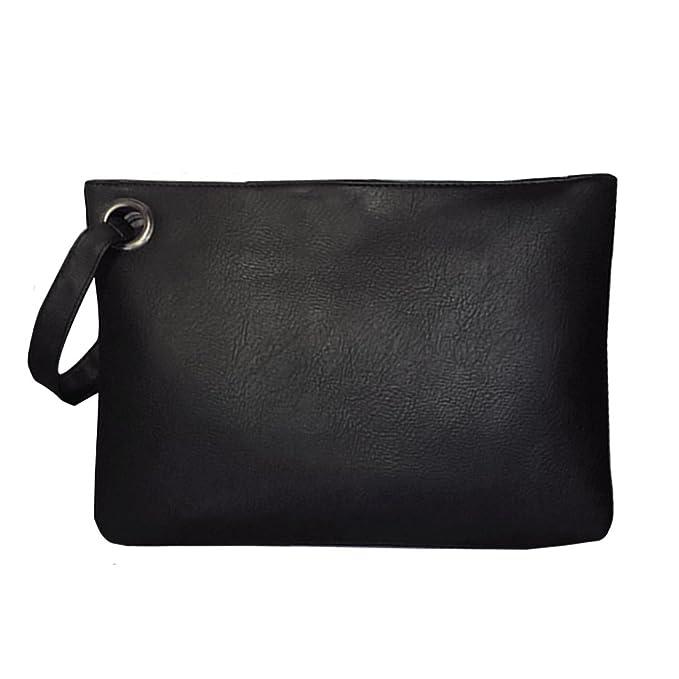 8122dbb9bd7 AiSi Oversized Leather Clutch Bag Purse Retro Envelope Evening Wristlet  Handbag, Black: Amazon.co.uk: Clothing