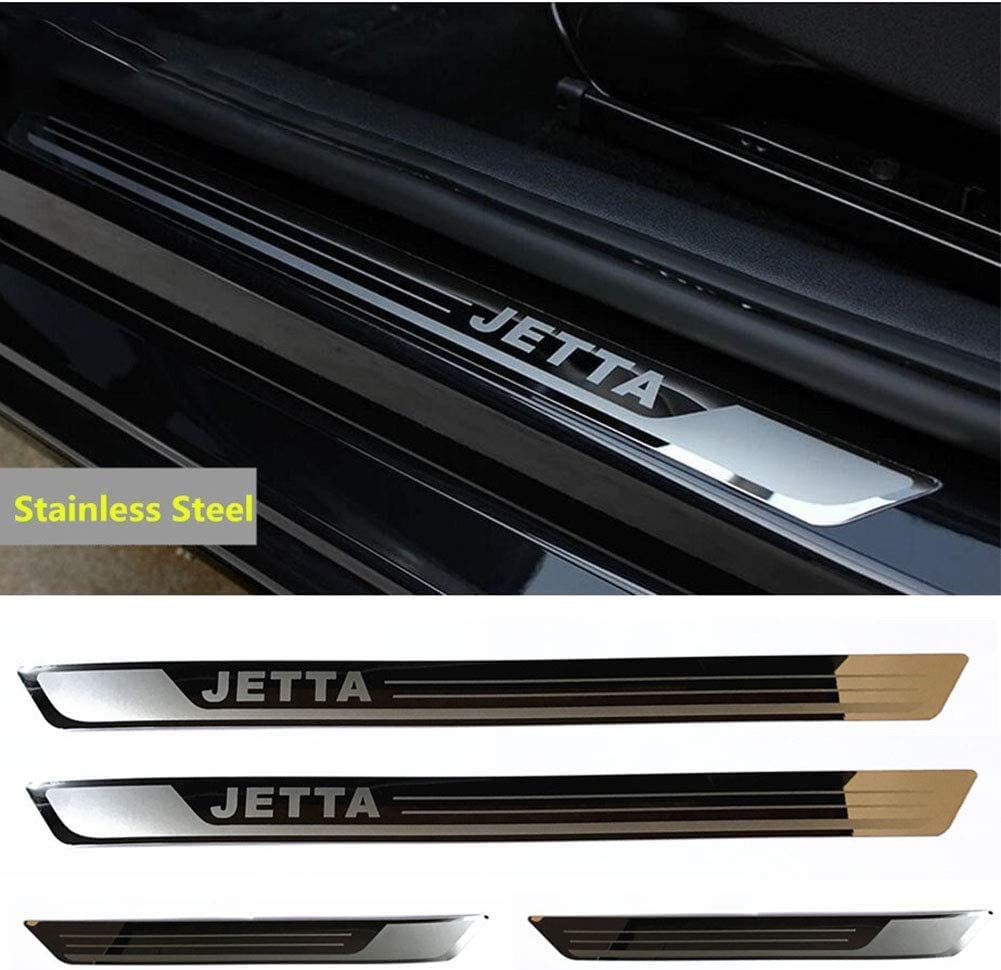Lxzy 4Pcs Door sill Kick Plates Protectors for VW Volkswagen Jetta MK6 2011-2015 Stainless steel Welcome Pedal Kick Plate Guard Pedal Trims Anti-Scratch Decoration Accessories