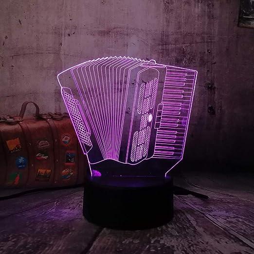 Lámpara 3D Acordeón Usb Touch Led Luz De Mesa 7 Cambio De Color ...