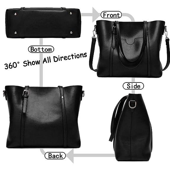 3304346b6c7de Amazon.com  BAISHILIN Women s Vintage Style Soft Leather Work Tote Large  Shoulder Bag (Black)  Shoes