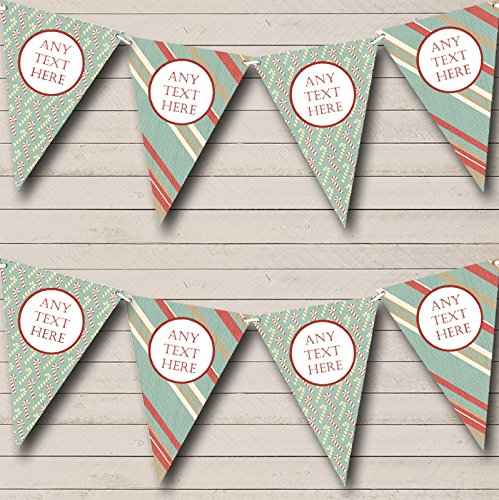 Stripy Candy Canes Personalized Christmas Decoration Bunting Banner Garland