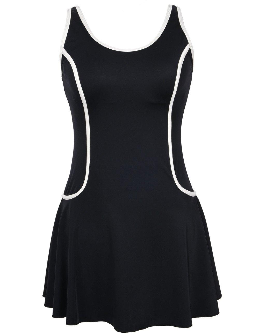 Black&white US 18 Septangle Women's Swimdress Slimming Bathing Suits Tummy Control Swimsuit