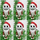 Christmas Tree Ornaments Nightmare Before Christmas 6 Piece Red Mini JACK SKELLINGTON Set - Around 2'' Tall