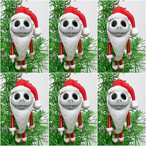 Nightmare Before Christmas 6 Piece Red Mini JACK SKELLINGTON Christmas Tree Ornament Set - Around 2