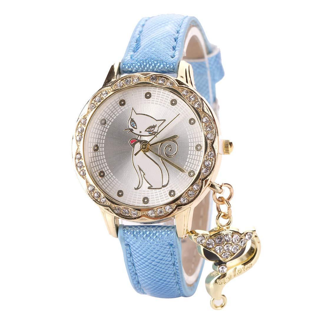 Amazon.com: Para Mujer Cute Cat Pattern Watch Women Girls Diamond Analog Leather Wrist Watches Red: Beauty