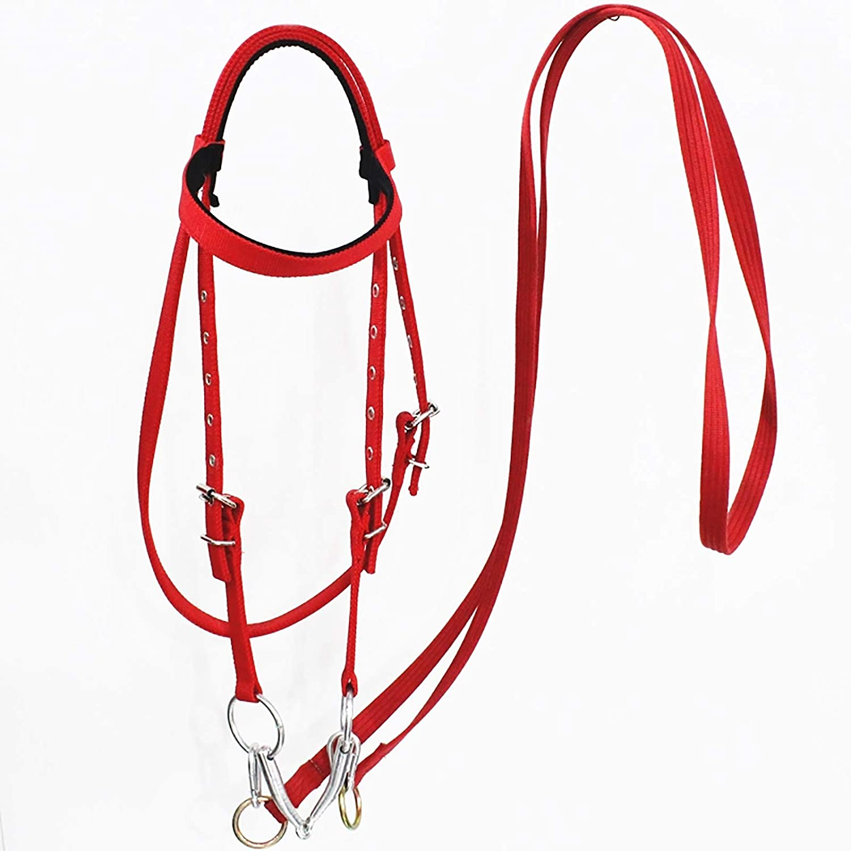 Cabezadas y riendas de hípica,cuerda de trabajo de cabestro para caballos mordida en la boca Material del caballo Shetty del cabestro del equipo ecuestre del pedazo del caballo ,Rojo,shoulder 1.3M